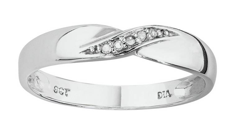 Buy Revere 9ct White Gold Diamond Accent Wedding Ring 3mm Womens Wedding Rings And Bands Argos