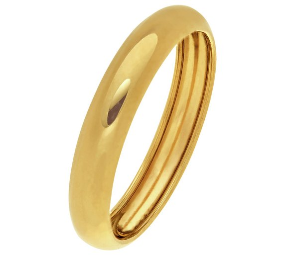 Buy Revere 9ct Gold Rolled Edge D-Shape Wedding Ring - 4mm ... 5c76083a46dc