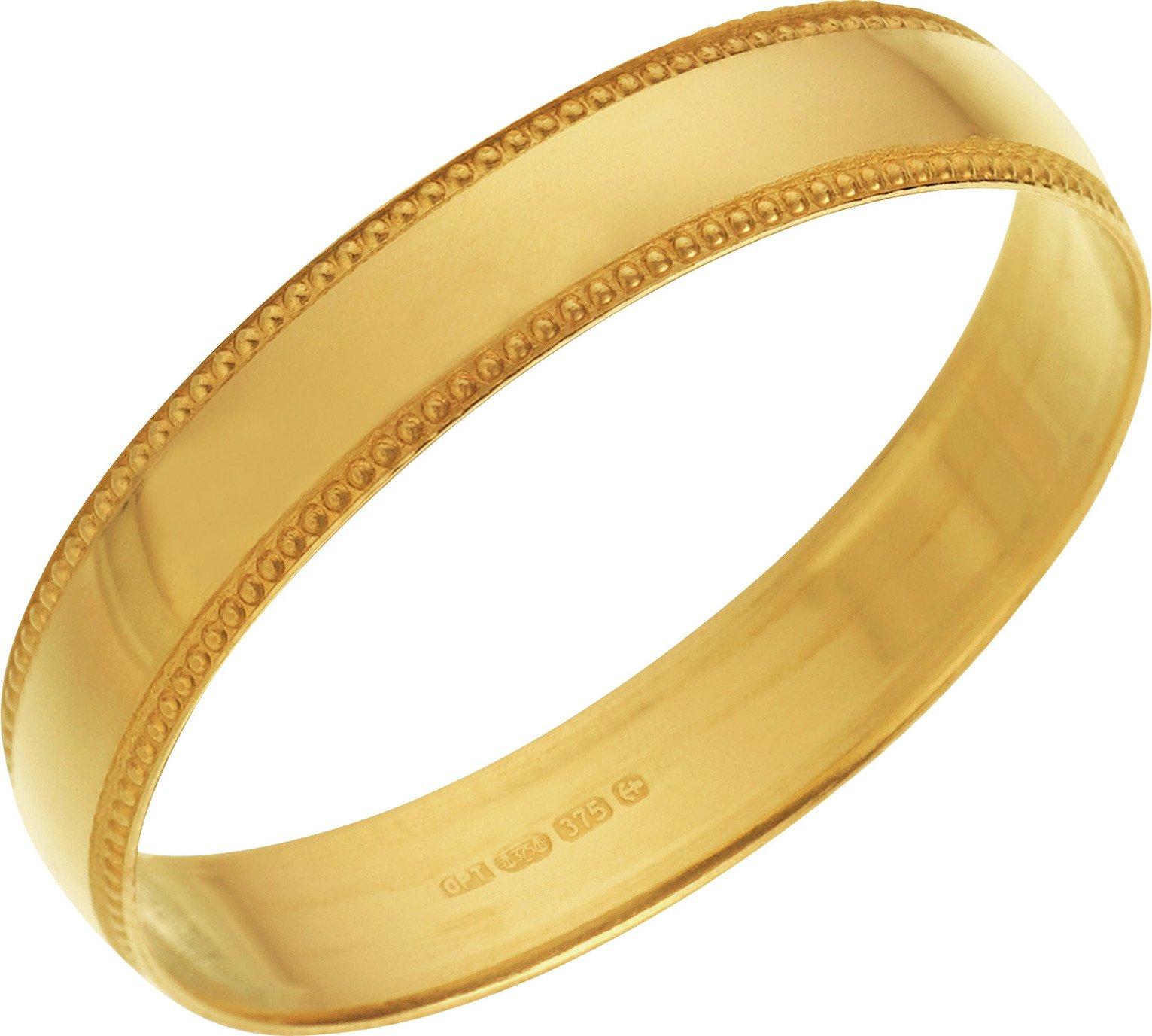 Revere 9ct Yellow Gold Plain Milgrain Wedding Ring - 4mm