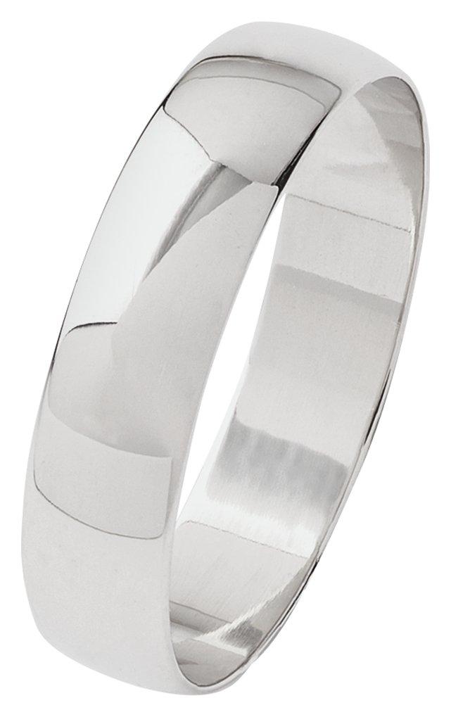 Revere 9ct White Gold Plain D-Shape Wedding Ring - 4mm