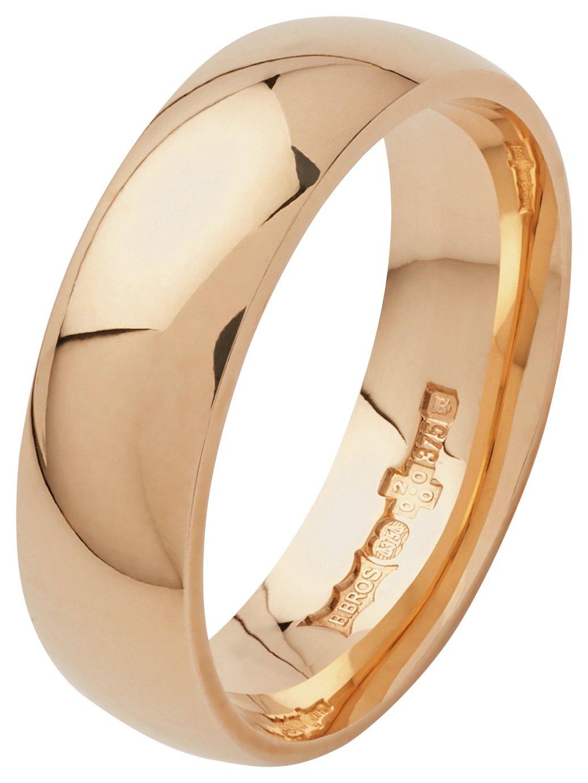Revere 9ct Yellow Gold Plain D-Shape Wedding Ring - 6mm