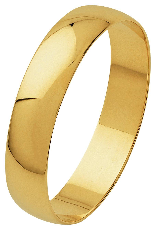 Revere 9ct Yellow Gold Plain D-Shape Wedding Ring - 4mm