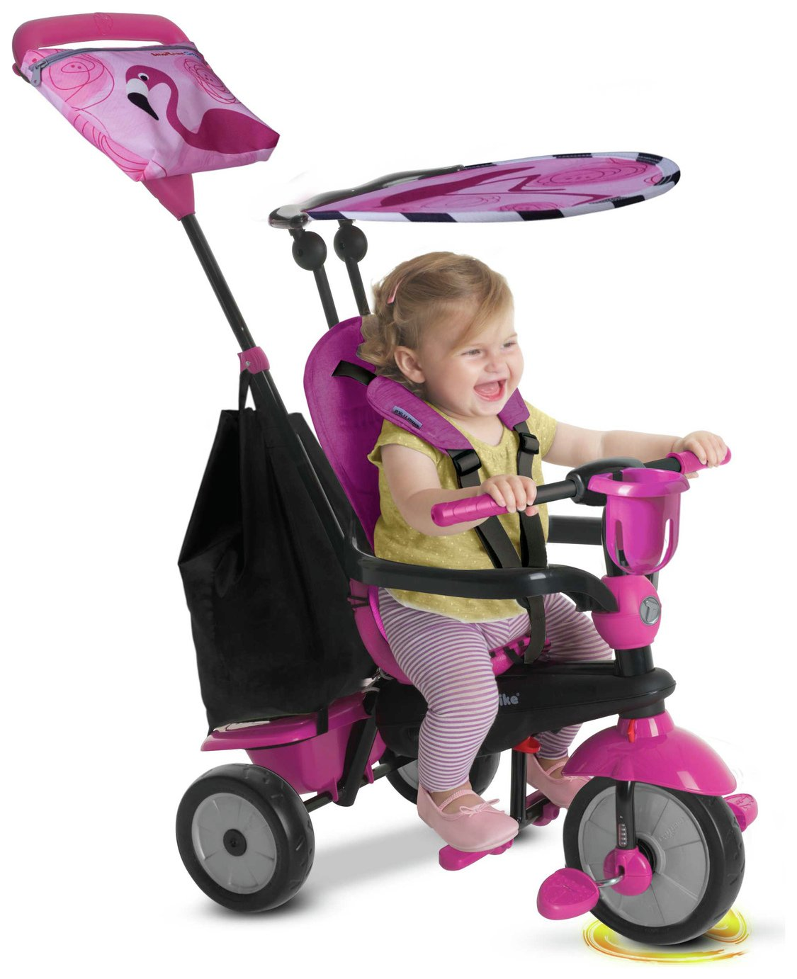 smarTrike Touch Steering 4-in-1 Safari Ride On - Flamingo