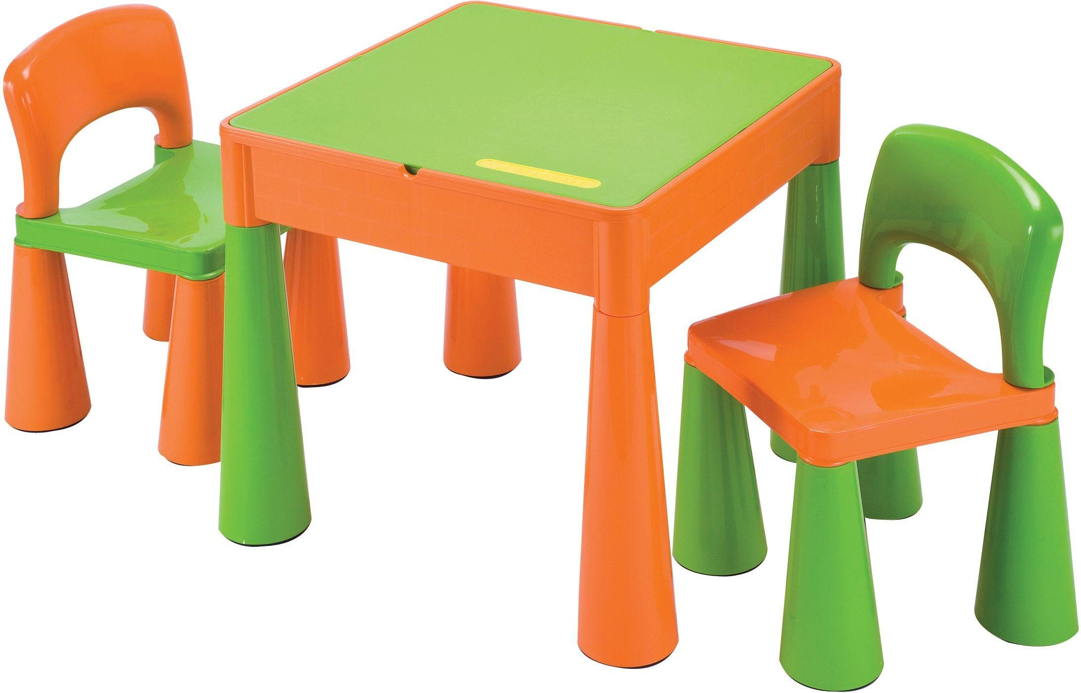 5 in 1 Table and Chairs Writing/Lego Top/Sand/Water/Storage Green