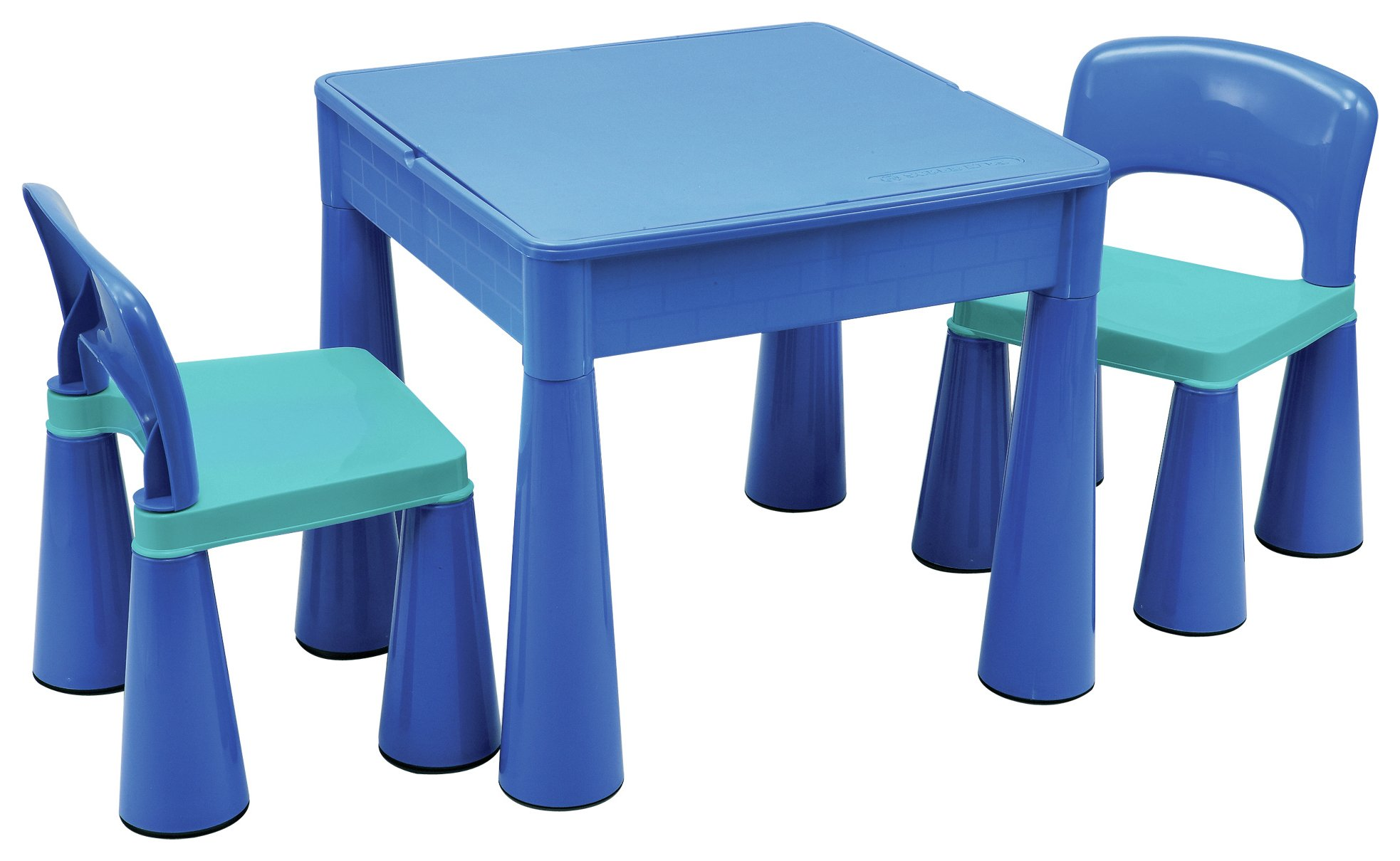 5 in 1 Table and Chairs Writing/Lego Top/Sand/Water/Storage Blue