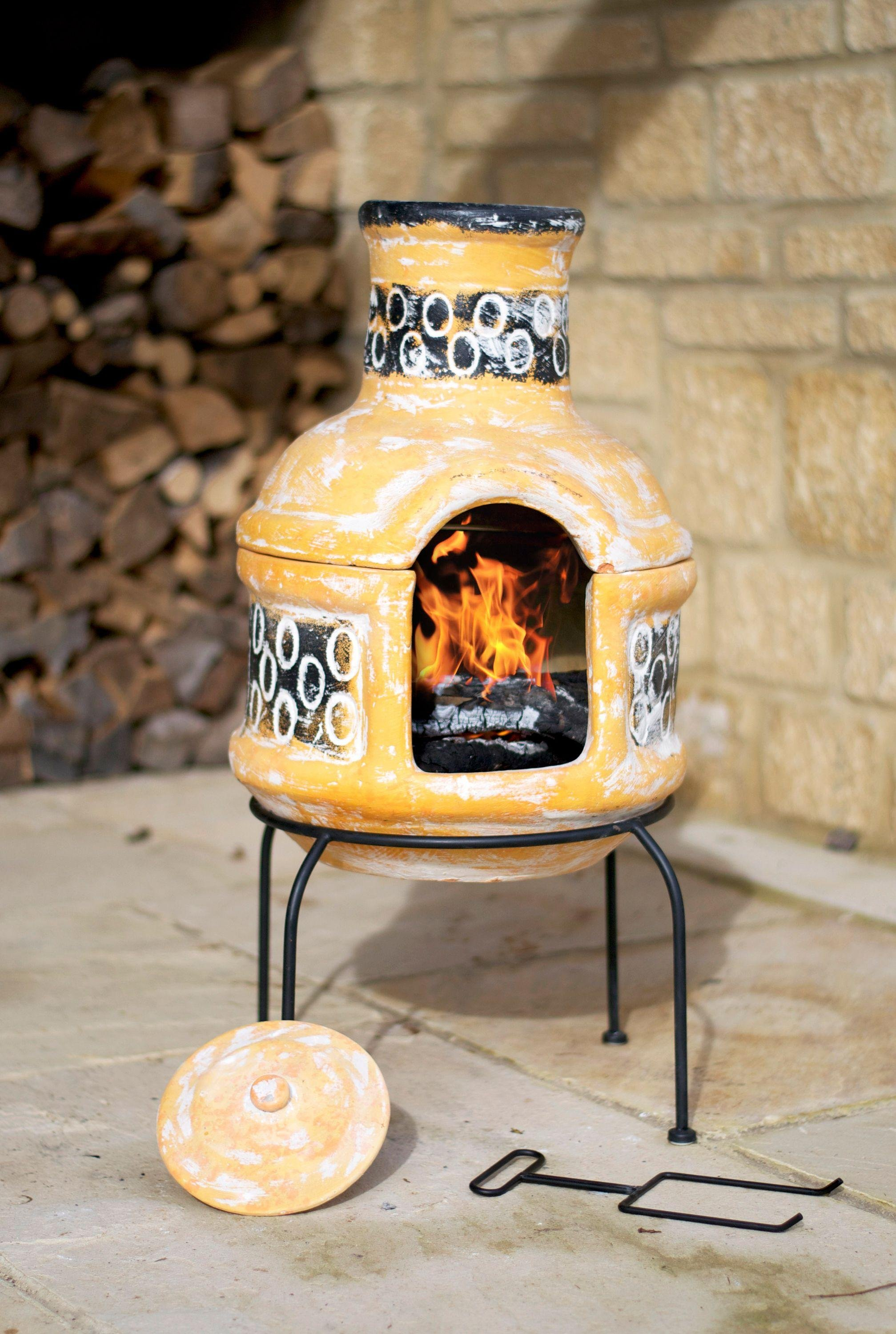La Hacienda Two Piece Clay Chiminea with Cooking Grill. lowest price