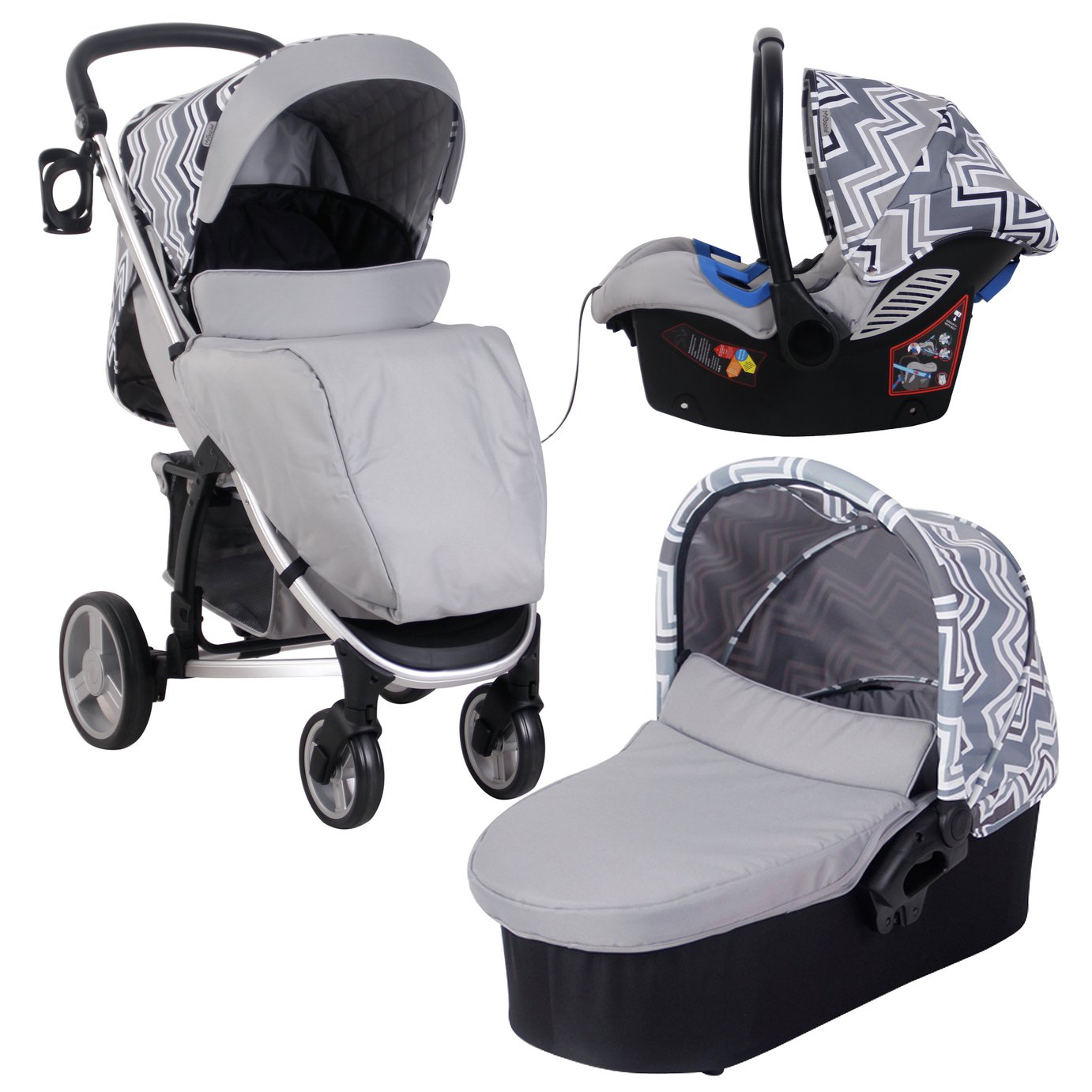 My Babiie Sam Faiers MB200 Travel System - Charcoal Chevron