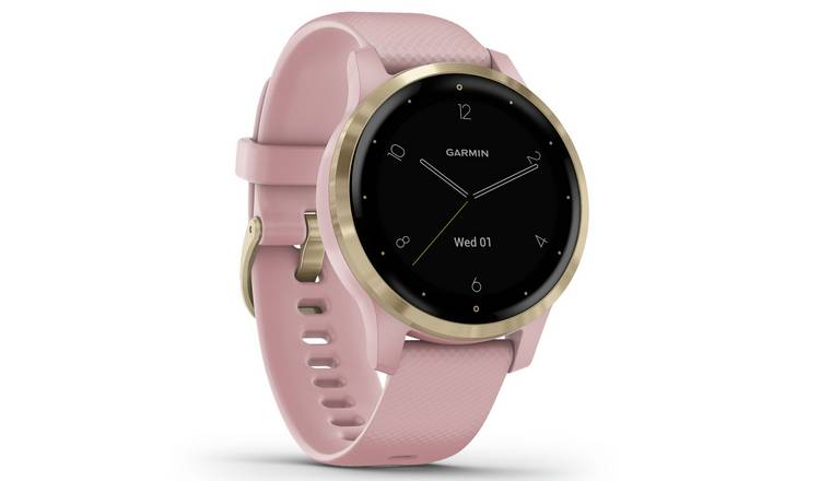 Garmin Vivoactive 4S GPS Smart Watch - Gold/ Dust Rose Band