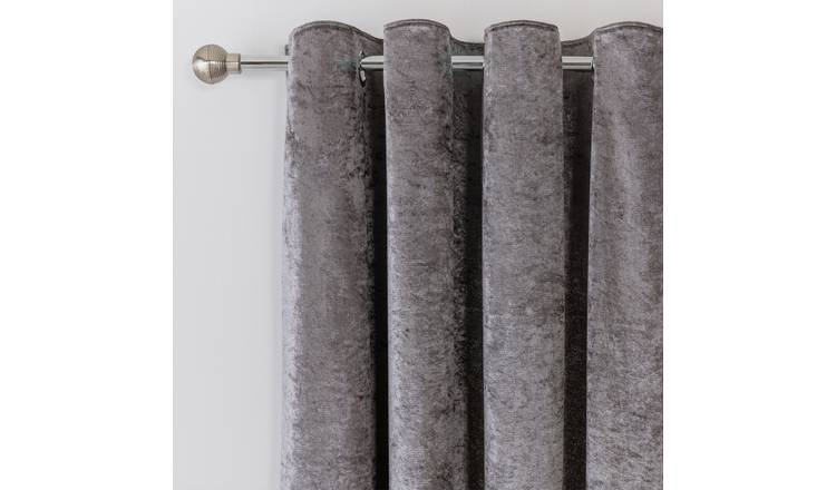 Argos Home Crushed Velvet Lined Eyelet Curtains - Charcoal