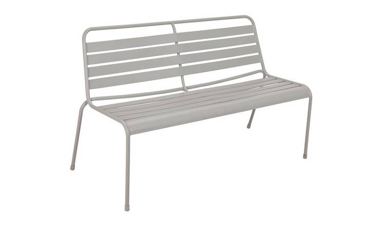 Argos Home Metal 2 Seater Garden Bench - Grey