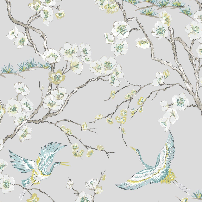 Sublime Japan Grey & Blue Wallpaper