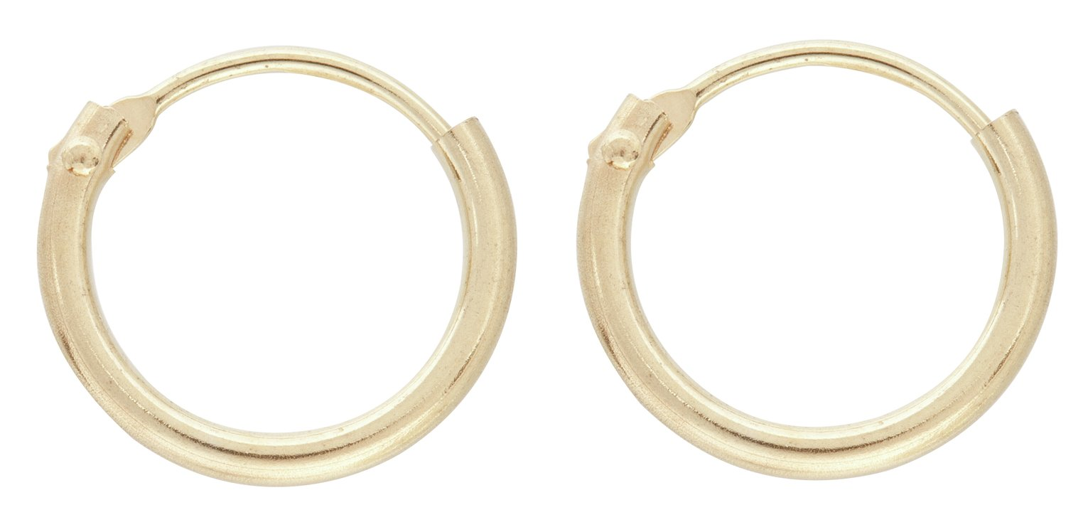 Revere 9ct Yellow Gold Small Hinged Hoop Earrings
