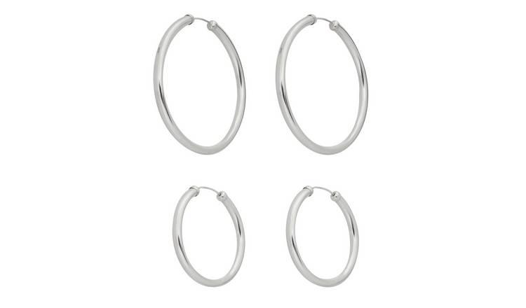 eb3c86a61 Buy Revere Sterling Silver Set of 2 Hoop Earrings | Womens earrings ...