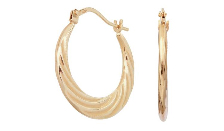 Revere 9ct Gold Swirl Effect Creole Hoop Earrings