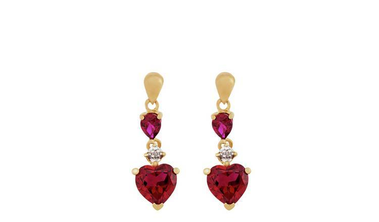 Revere 9ct Yellow Gold Created Ruby & Diamond Drop Earrings