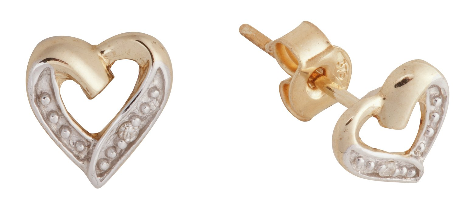 Revere 9ct Gold Diamond Accent Heart Stud Earrings