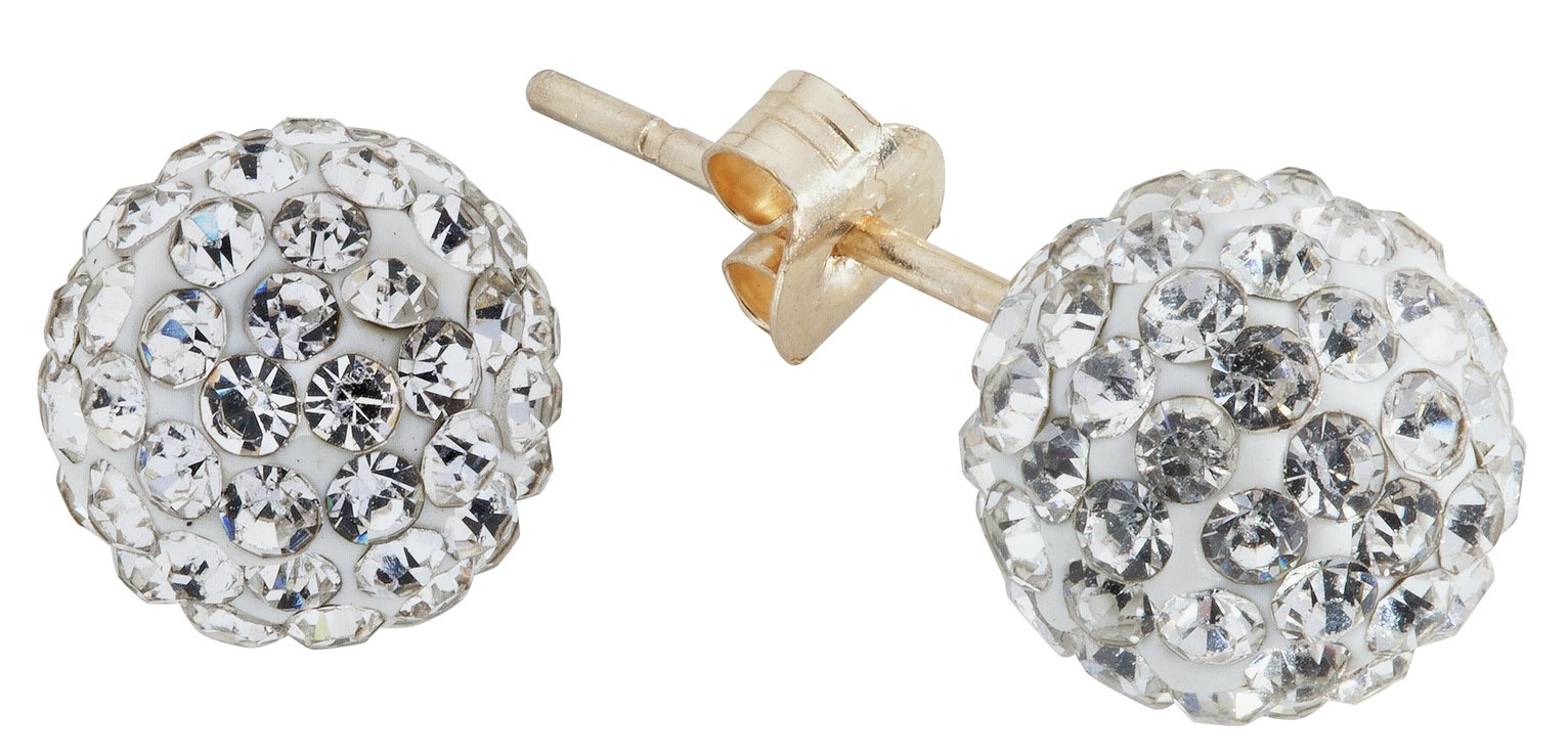 Revere 9ct Gold Crystal Glitter Ball Stud Earrings