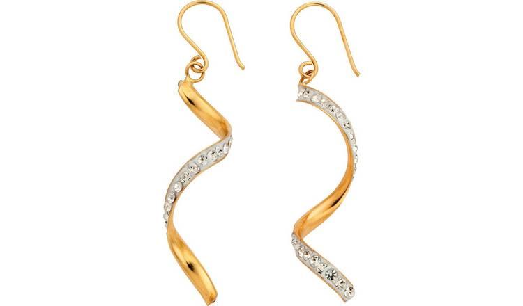 Yellow Gold Diamond Cut Oval Creoles Earrings  42mm New