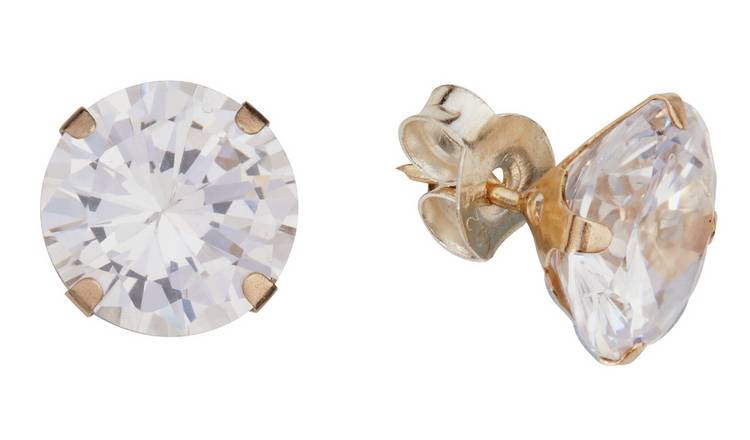 Revere 9ct Yellow Gold Cubic Zirconia 8 mm Stud Earrings