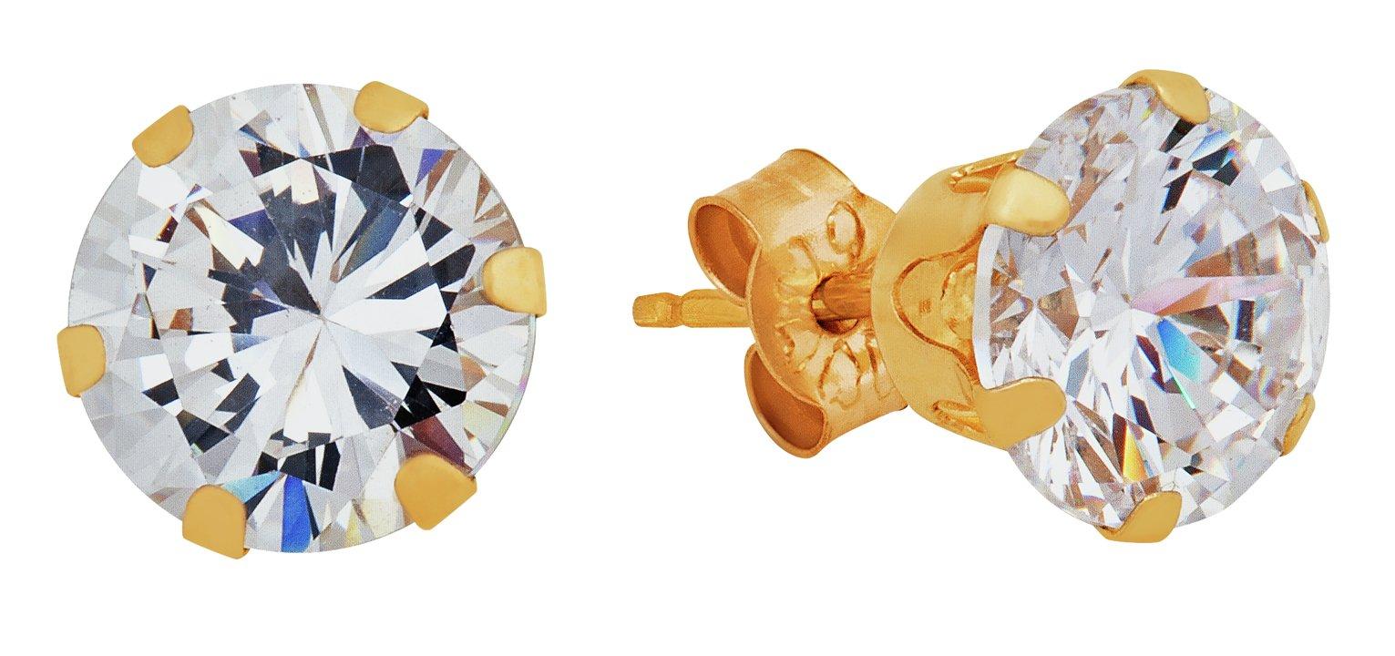 Revere 9ct Yellow Gold Cubic Zirconia 6mm Stud Earrings