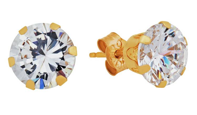 Revere 9ct Yellow Gold Cubic Zirconia 6mm Stud Earrings