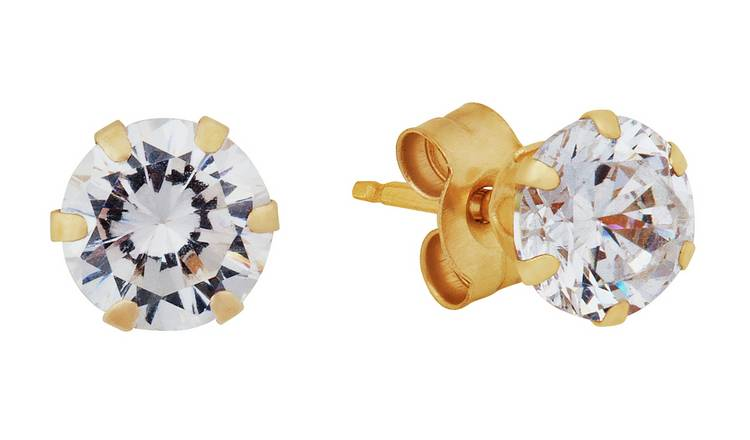 Revere 9ct Yellow Gold Cubic Zirconia 4mm Stud Earrings