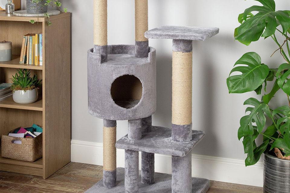 A scratching post and cat tree.