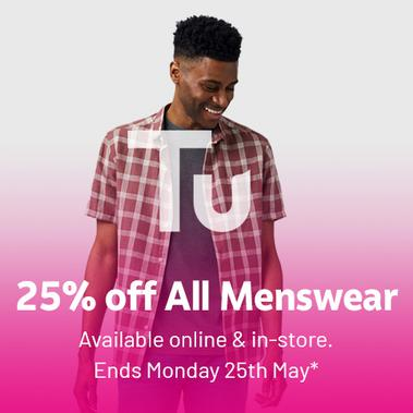 Save 25% on all menswear.