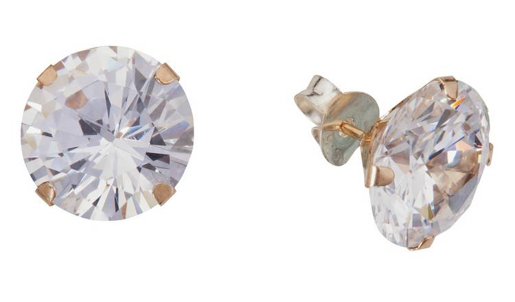 Revere 9ct Yellow Gold Cubic Zirconia 10mm Stud Earrings