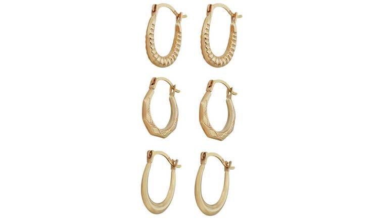 bas prix 7f7da b4079 Buy Revere 9ct Yellow Gold Set of 3 Mini Creoles | Womens earrings | Argos