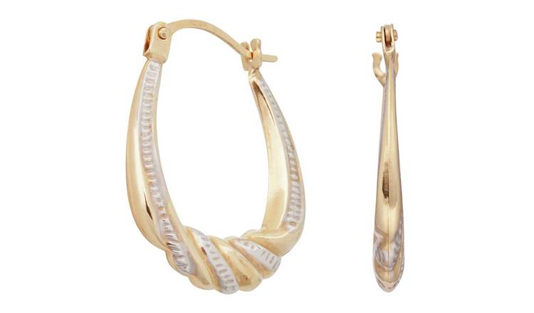 Revere 9ct Gold Two Tone Twist Creole Hoop Earrings