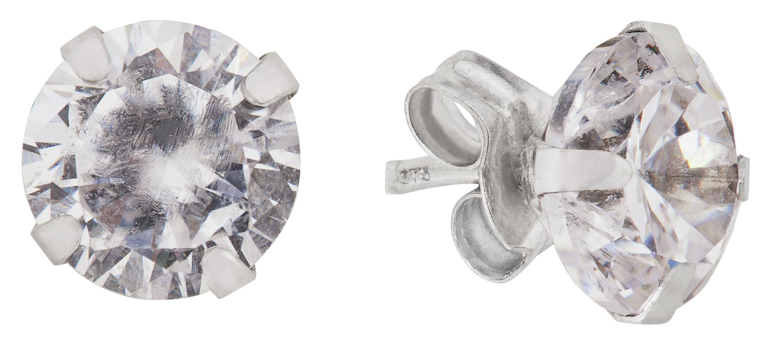 Revere 9ct White Gold Cubic Zirconia 6mm Stud Earrings