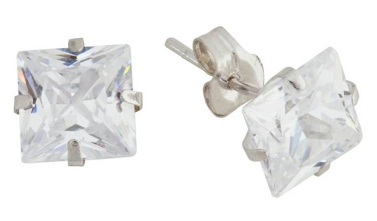 Revere 9ct White Gold Square CZ 6mm Stud Earrings