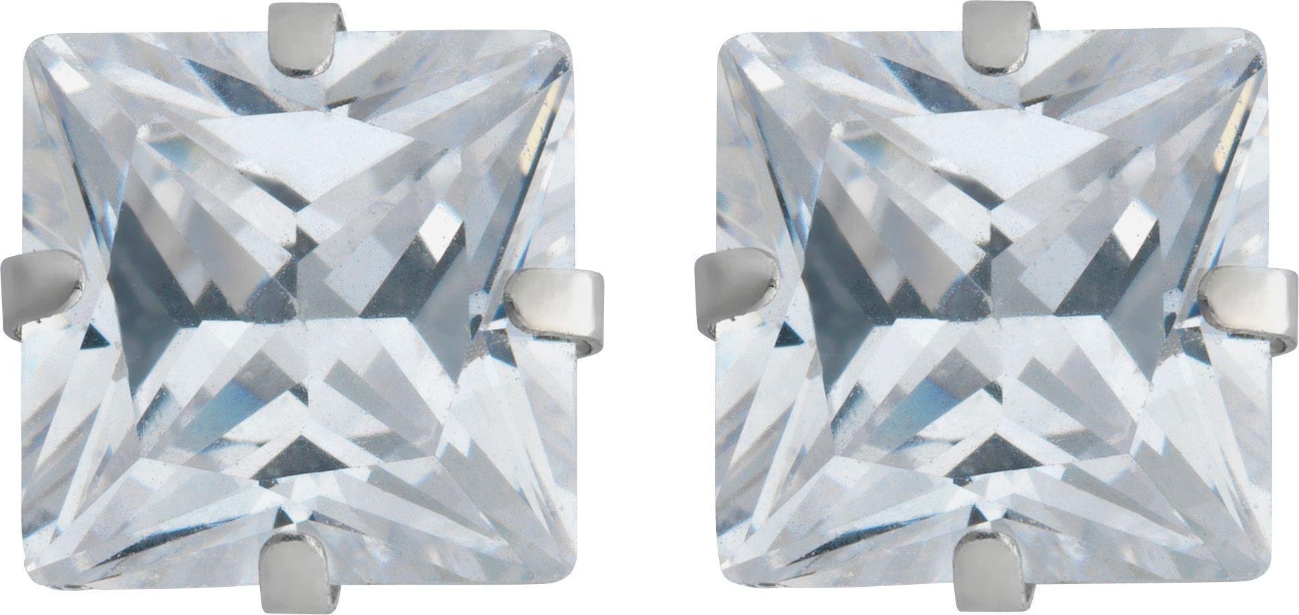 9 Carat White Gold - Square Cubic Zirconia - Stud Earrings.