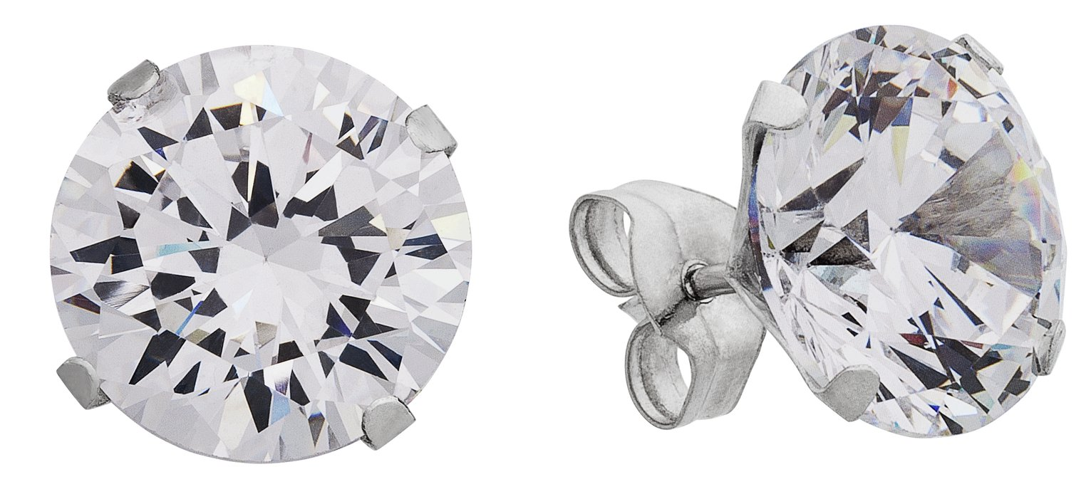 Revere 9ct White Gold Cubic Zirconia 8mm Stud Earrings
