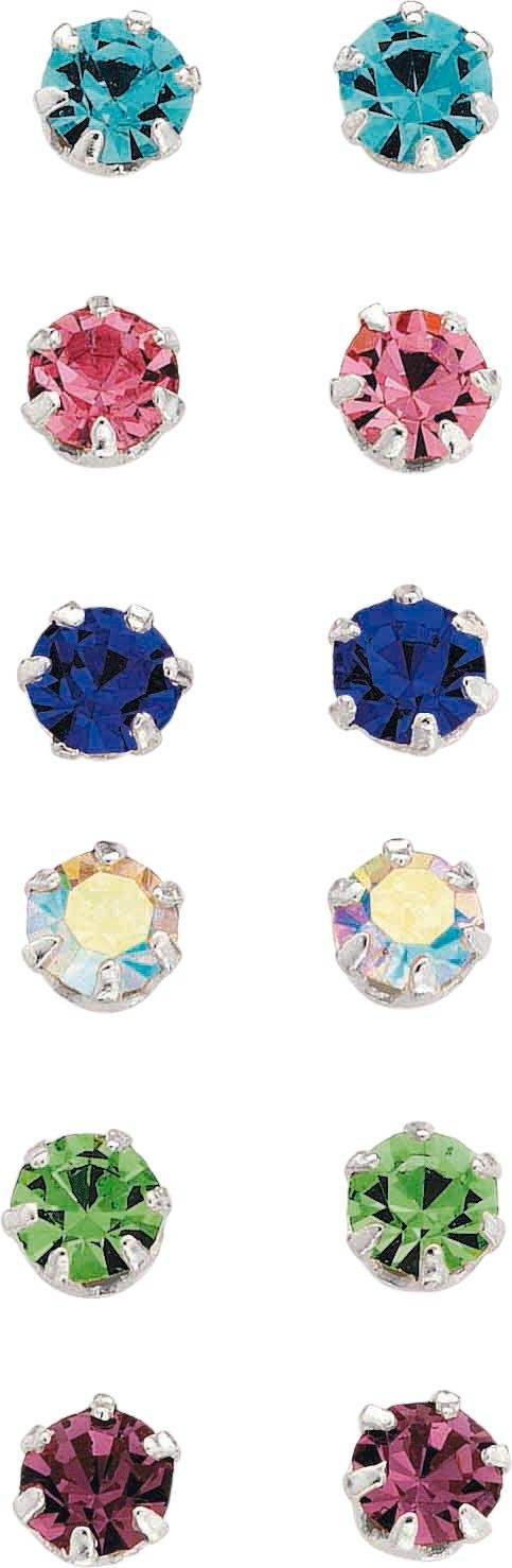 buy sterling silver stud earrings set of 6 at argos co