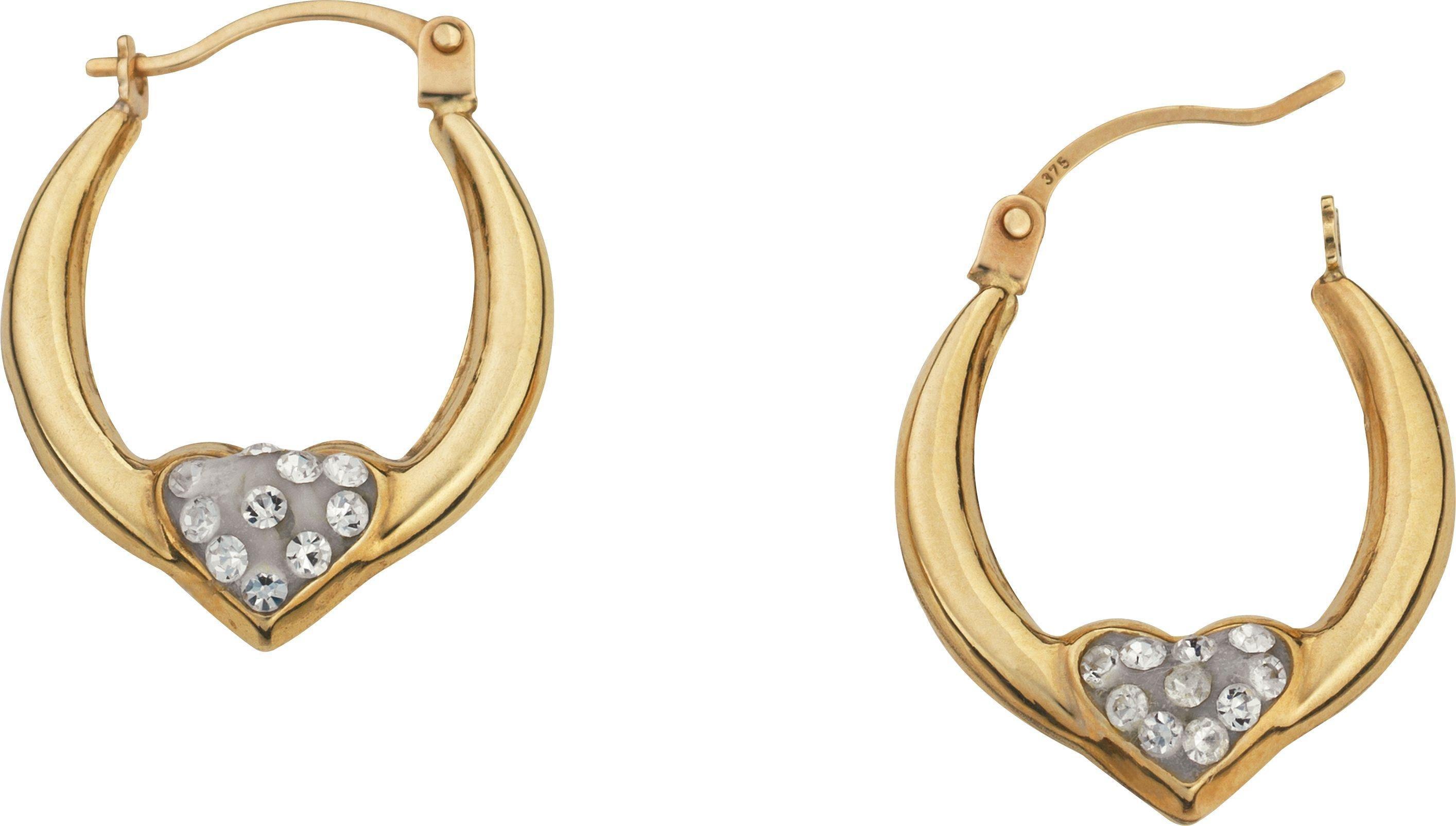 9 Carat Gold - Reversible Crystal Heart Creole Earrings.