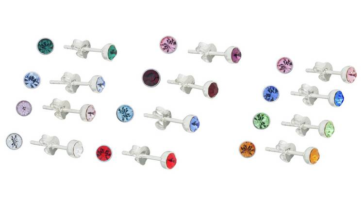 fb7f88475 Buy Revere Sterling Silver Crystal Set of 12 Stud Earrings | Womens ...