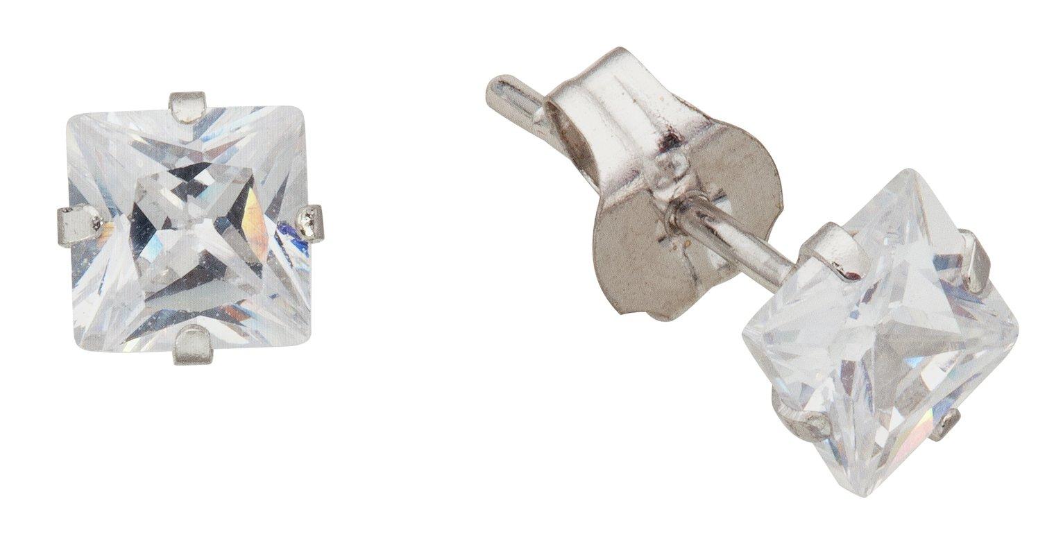 Revere 9ct White Gold Square CZ 4mm Stud Earrings