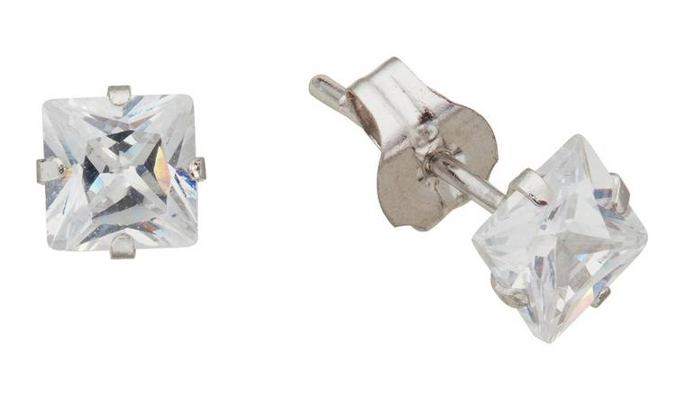 Revere 9ct White Gold Square CZ 4mm Stud Earrings