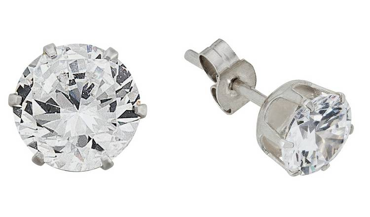 Revere Sterling Silver Round Cubic Zirconia Stud Earrings
