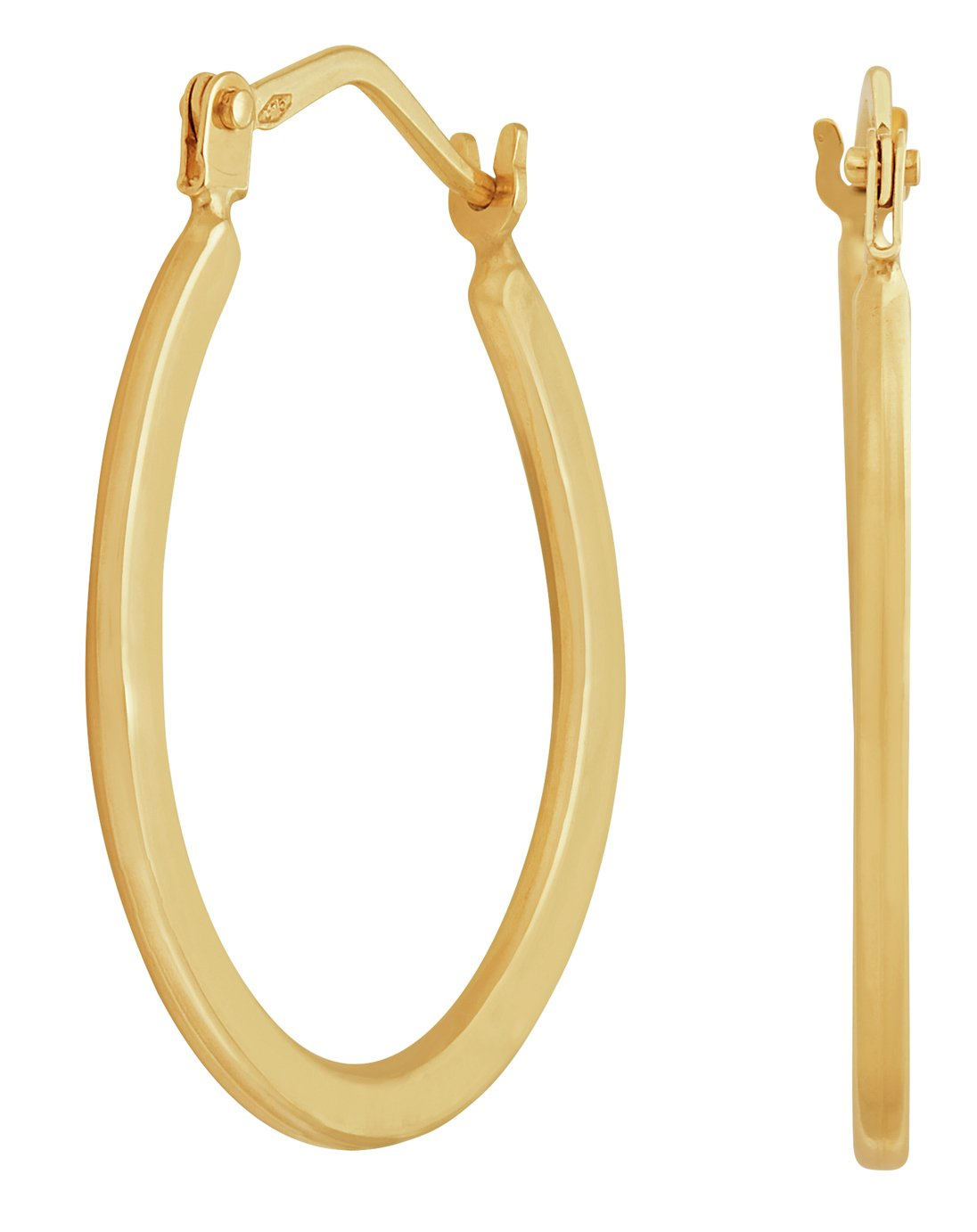 Revere 9ct Yellow Gold Plain Oval Creole Hoop Earrings