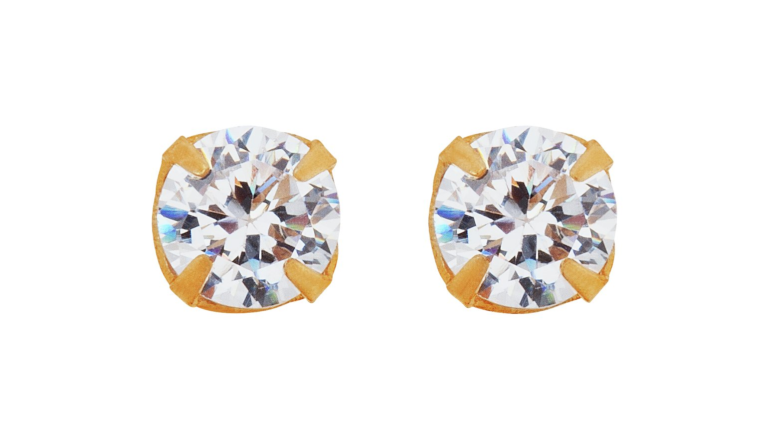 Image of Andralok - 9 Carat Gold - Cubic Zirconia - Stud Earrings.