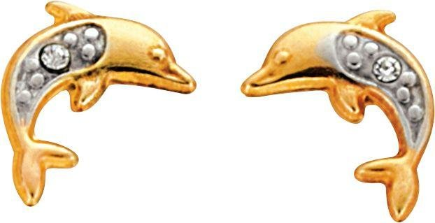Image of Andralok - 9 Carat Gold - Dolphin with Cubic Zirconia - Stud Earrings.