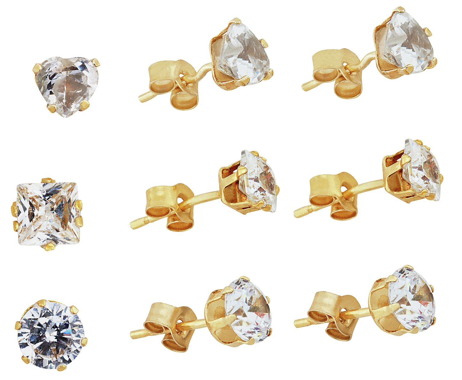 Revere 9ct Gold Plated Silver CZ Stud Earrings - Set of 3