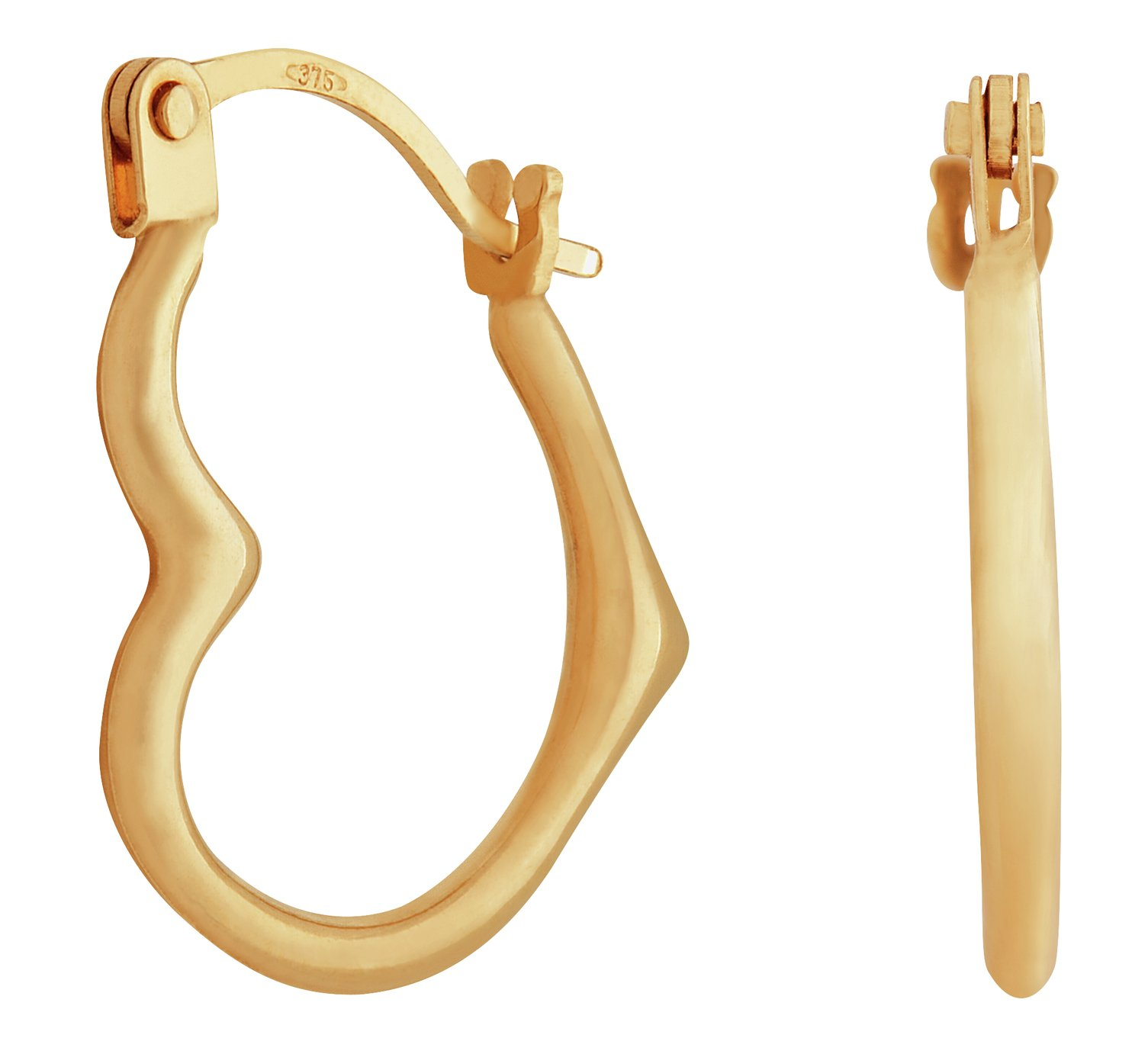Revere 9ct Gold Heart Creole Earrings