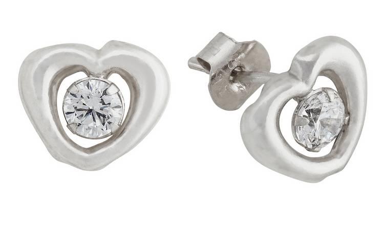 e421028fc Revere 9ct White Gold Cubic Zirconia Heart Stud Earrings212/7864
