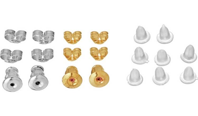 PACK OF SPARE EARRING BACKS GOLD EN BELL SHAPED EAR BACKS,BUTTERFLIES