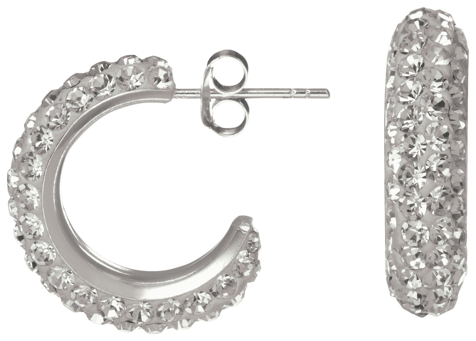 Sterling Silver - Crystal Half - Hoop Earrings.