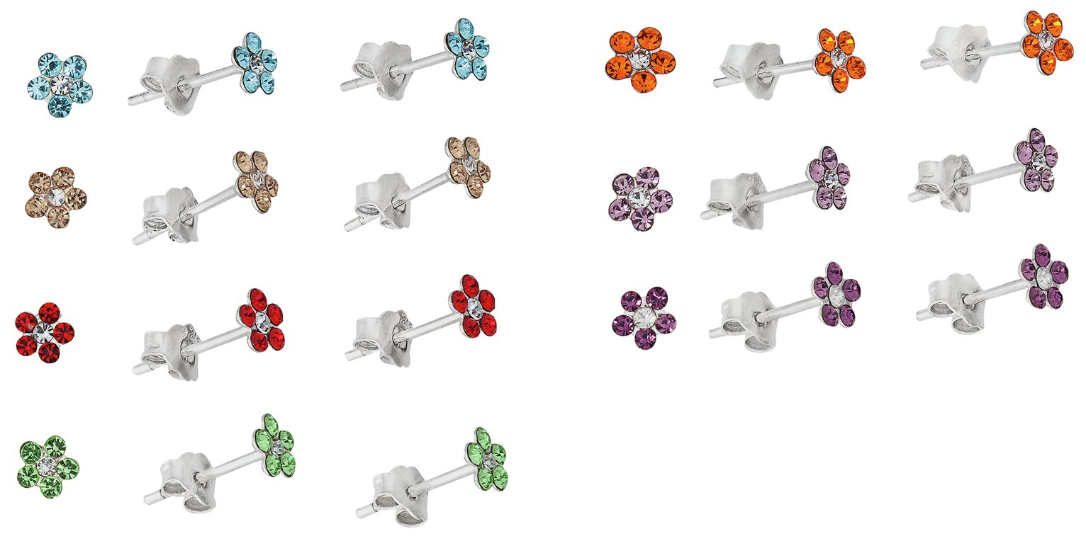 Revere Sterling Silver CZ Flower Stud Earrings - Set of 7